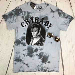 """TIE-DYE T-shirt w/ """"CRY BABY"""" quote & pic """"S"""""""